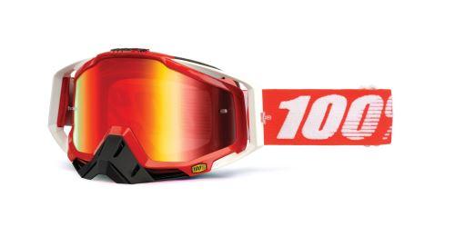 Brýle Racecraft Fire Red, 100% (červené chrom plexi + čiré plexi + chránič nosu +20 strhávaček)