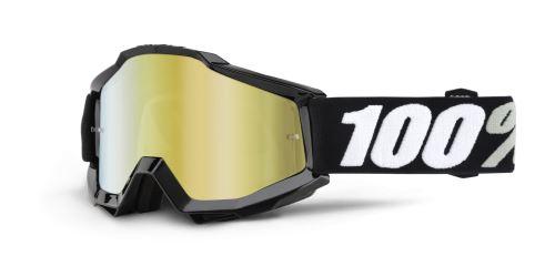 Brýle Accuri Tornado, 100% (černá, zlaté chrom + čiré plexi s čepy pro slídy)