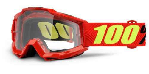 Brýle Accuri OTG Saarinen, 100% (červená, čiré plexi s čepy pro slídy)