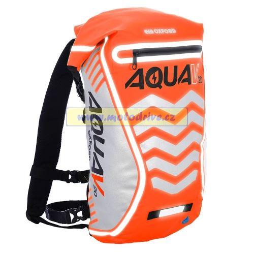 Oxford Vodotěsný batoh Aqua V20 Extreme Visibility, Anglie (oranžová fluo/reflexní prvky, objem 20l)