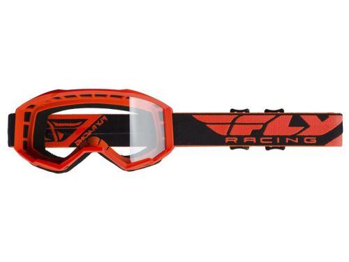 Brýle FOCUS, FLY RACING (oranžové, čiré plexi bez pinů)