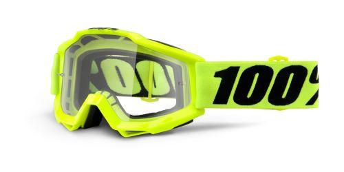 Brýle Accuri Fluo Yellow, 100% (žlutá, čiré plexi s čepy pro slídy)