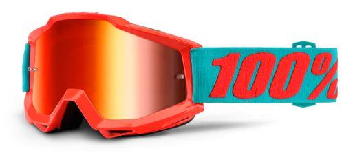 100% Dětské brýle ACCURI Passion (červená,červené chrom plexi s čepy pro slídy)