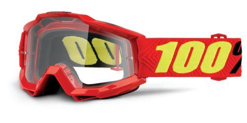 Brýle Accuri Saarinen, 100% (červená, čiré plexi s čepy pro slídy)