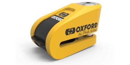 Zámek kotoučové brzdy Alpha Alarm XA14, OXFORD (integrovaný alarm, žlutý/černý, průměr čepu 14 mm)