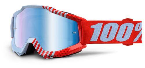 100% brýle ACCURI Cupcoy (červená/bílá, modré chrom + čiré plexi s čepy pro slídy)